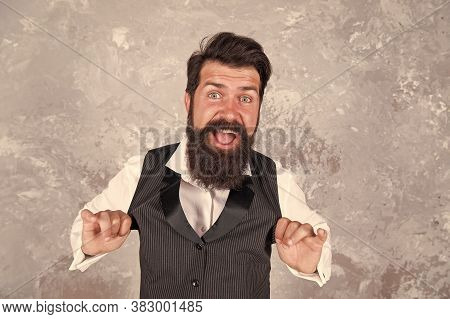 Bearded Jewish Man. Guy Mature Bearded Stylish Dressed In Shirt And Vest. Jewish Holiday. Cheerful A