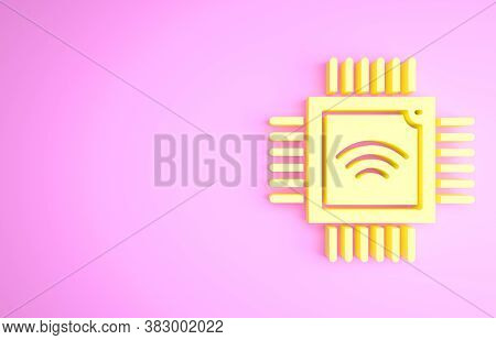 Yellow Computer Processor With Microcircuits Cpu Icon Isolated On Pink Background. Chip Or Cpu With