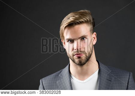 Man Serious Bearded Unshaven Guy With Perfect Hairstyle Dark Background. Simple Hacks To Make Hairst