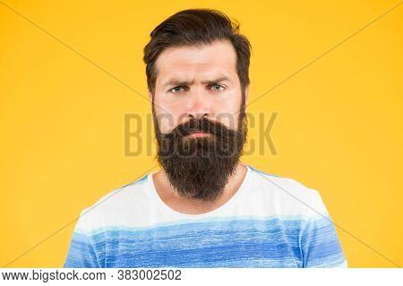Be Serious. Hipster Appearance. Beard Fashion And Barber Concept. Man Bearded Hipster Stylish Beard