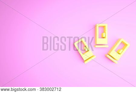 Yellow Cartridges Icon Isolated On Pink Background. Shotgun Hunting Firearms Cartridge. Hunt Rifle B