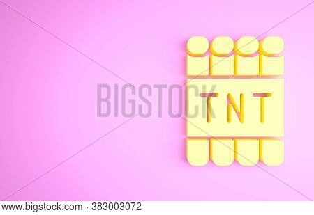 Yellow Detonate Dynamite Bomb Stick And Timer Clock Icon Isolated On Pink Background. Time Bomb - Ex
