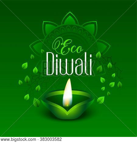 Happy Green Eco Diwali Leaves Background Vector Design Illustration