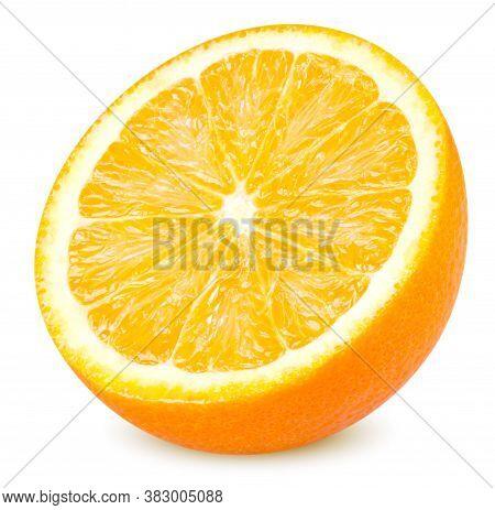 Isolated Orange Fruit. Slice Of Fresh Orange Isolated On White Background With Clipping Path