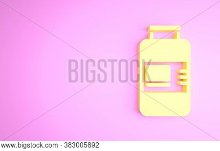 Yellow Collagen Serum And Vitamin Icon Isolated On Pink Background. Facial Treatment Essence Skin Ca