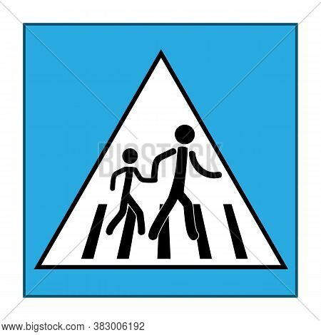 Stoplight Sign. Icon Safe Crossing Highway On White Background. Symbol Control Movement Safety And W