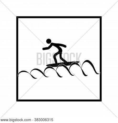 Sports. Surfing Icon. Silhouette Emblem Surf. Logo Professional Sports, Active Recreation And Leisur
