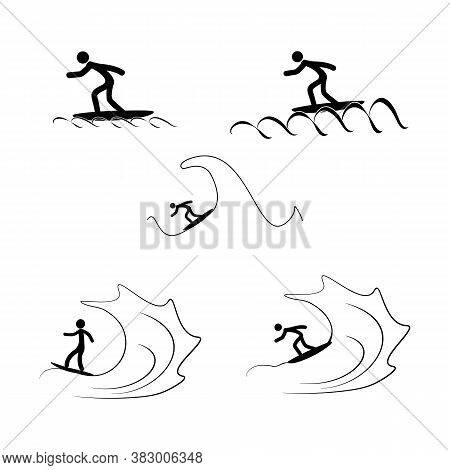 Sports. Surfing Icons. Silhouette Emblem Surf. Logo Professional Sports, Active Recreation And Leisu