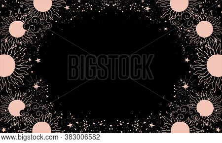 A Mystical Heavenly Black Banner With Copy Space, Moon, Sun, And Stars. Space Background With Place