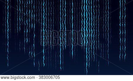 Abstract Blue Glitch Background. Flowing Energy Particles. Digital Green Code. Hacker Concept.  Illu
