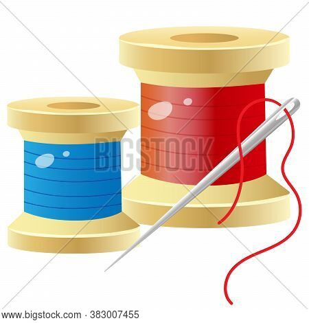 Color Images Of Spools Of Thread With Needle. Set For Sewing. Vector Illustration For Handcraft.