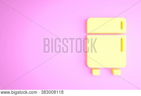 Yellow Refrigerator Icon Isolated On Pink Background. Fridge Freezer Refrigerator. Household Tech An