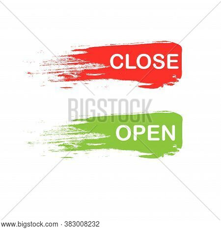 Open Close Banner. Stamp On Green And On Red Smear Of Paint Background Art Design Element Stock Vect