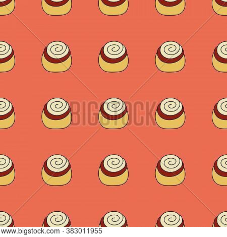 Seamless Pattern With Cinnabon. Vector Flat Illustration.