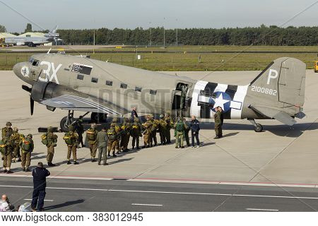 Eindhoven Netherlands Sept. 20. 2019: Reenactors And Veteran Paratroopers Enter A C-47 To Jump At Th