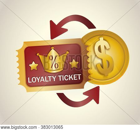 Loyalty Program Ticket Icon. Discount Or Bonus Card With Image Of Percent Signs And Crown. Promotion