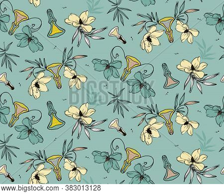 Vulva Paradise Plants, Funny Vagina Pattern In Greenery Colors. Seamless Repeat Pattern Design Hibis