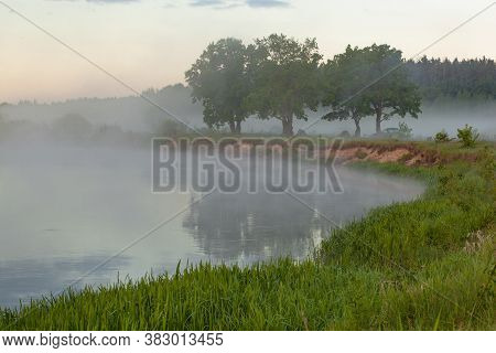 River In Morning Covered With Fog, Captivating Willow Trees On The Bank. Beautiful Landscape Of Plai