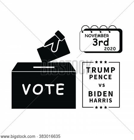 2020 Us Presidential Election On November 3rd. Cast Voting Ballots Votes For Donald Trump And Mike P