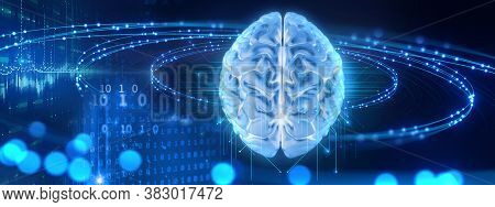 3d Rendering Of Artificial Brain And  Microchip ,concept Of Neural Network And Relationship Between