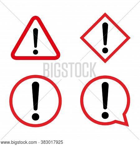 Set Of Hazard Warning, Warn Symbol Vector Icon Flat Sign Symbol With Exclamation Mark Isolated On Wh