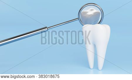 White Tooth With Reflection In Metal Dental Mirror. Dentist Background Design Concept. 3d Rendering