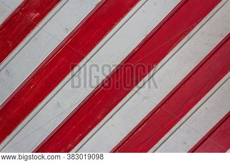 Board Fence Texture Of White And Red Wooden Boards Arranged Diagonally For Web Design. Wooden Wall,