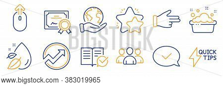 Set Of Business Icons, Such As Star, Quickstart Guide. Certificate, Save Planet. Group, Approved Mes