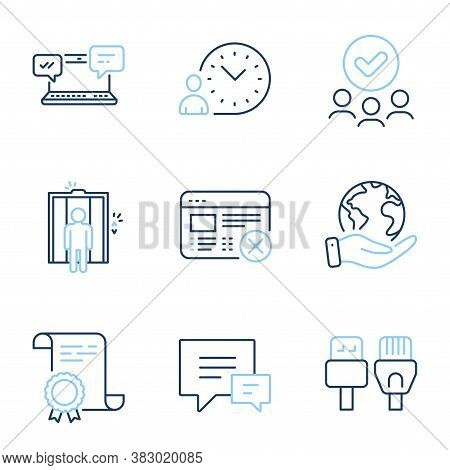 Time Management, Internet Chat And Computer Cables Line Icons Set. Diploma Certificate, Save Planet,