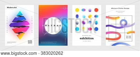 Minimal Cover. Abstract Geometric Music Posters And Book Titles With Simple Shapes And Vibrant Brigh