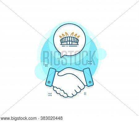 Sport Complex Sign. Handshake Deal Complex Icon. Arena Stadium Line Icon. Championship Building Symb