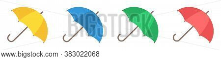 Vector Illustration Yellow, Blue, Red And Green Umbrella In Cartoon Style. Umbrella Icon Set Isolate