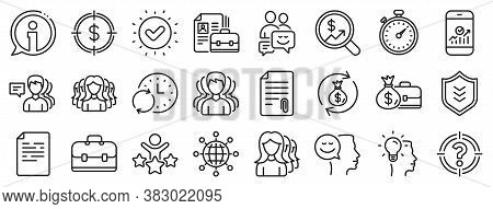 Group, Profile And Teamwork Icons. Business User Line Icons. Portfolio, Timer And Security Shield Sy