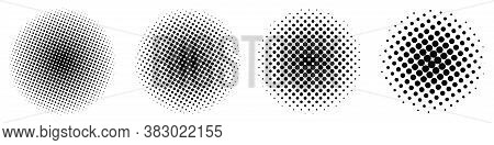 Set Of Abstract Halftone Design Elements. Halftone Dots In Circle. Circle Halftone Pattern. Vector I