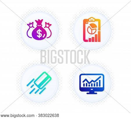 Check Investment, Credit Card And Report Icons Simple Set. Button With Halftone Dots. Statistics Sig