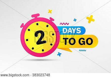 Two Days Left Icon. Countdown Left Days Banner With Timer. 2 Days To Go Sign. Sale Announcement Bann