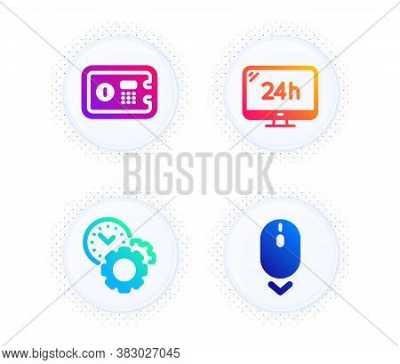 24h Service, Time Management And Safe Box Icons Simple Set. Button With Halftone Dots. Scroll Down S