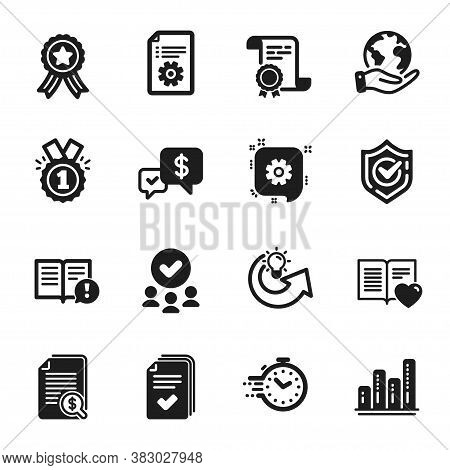Set Of Education Icons, Such As Payment Received, Cogwheel. Certificate, Approved Group, Save Planet