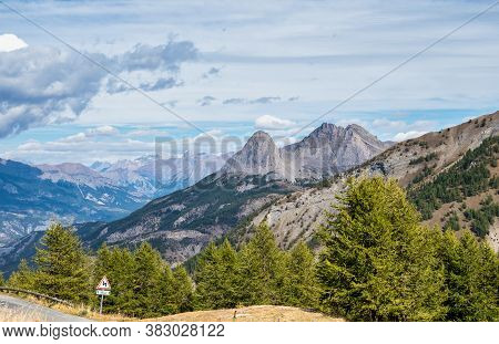 Alpine Landscape Of The French Alps, Col Allos In The Provence Alpes, Mercantour National Park, Alpe