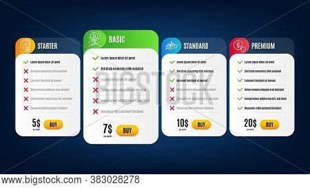Buy Currency, Financial Documents And Bitcoin Project Line Icons Set. Pricing Table, Subscription Pl