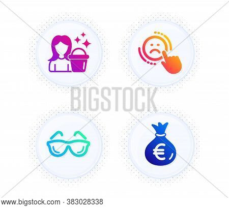 Dislike, Cleaning And Eyeglasses Icons Simple Set. Button With Halftone Dots. Money Bag Sign. Negati