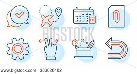 Undo, Creativity Concept And Touchscreen Gesture Signs. Service, Approved And Calendar Line Icons Se