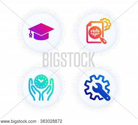 Seo Stats, Graduation Cap And Safe Time Icons Simple Set. Button With Halftone Dots. Customisation S