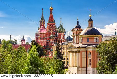 Moscow Cityscape In Summer, Russia. Beautiful Scenic View Of Red St Basil`s Cathedral And Moscow Kre