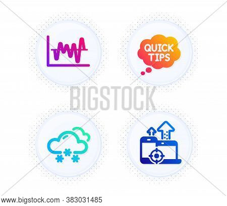Quick Tips, Snow Weather And Stock Analysis Icons Simple Set. Button With Halftone Dots. Seo Devices