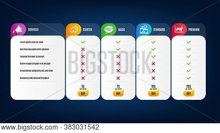 Quick Tips, Snow Weather And Stock Analysis Icons Simple Set. Price List, Pricing Table. Seo Devices
