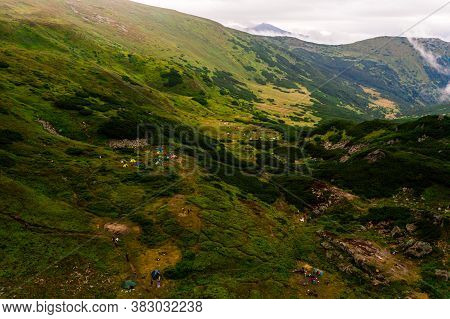 Carpathian Lake Brebeneskul And Rocky Terrain Near It, An Attractive Place For Tourism, The Highest