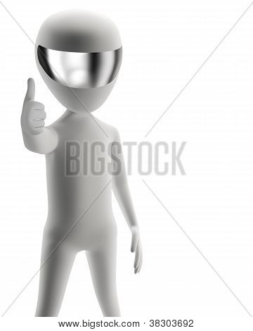 3D People - Positive Yes! 3D Image. Isolation On A White Background
