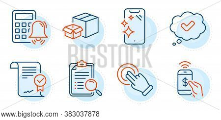 Search Analysis, Phone Payment And Smartphone Clean Signs. Approved Agreement, Packing Boxes And App
