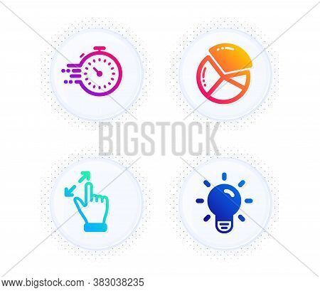 Timer, Pie Chart And Touchscreen Gesture Icons Simple Set. Button With Halftone Dots. Light Bulb Sig